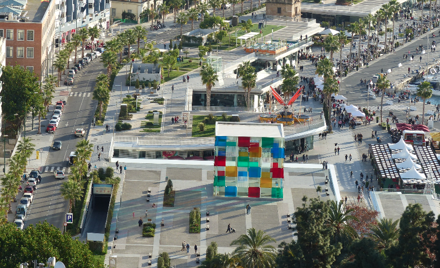 Aerial view of Pompidou and Muelle Uno Malaga, Spain