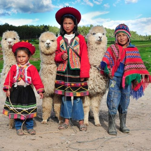 Local children with llamas in Peruvian indigenous community