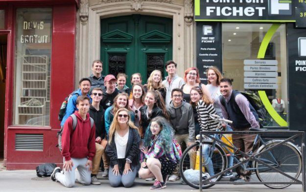 Ryan and his students in Paris during their spring French exchange trip.