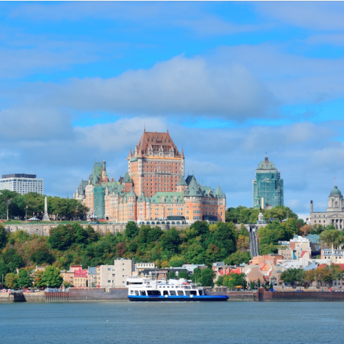Canada-Quebec-Quebec-City-Chateau-Frontenac-with-View-of-Water-Daytime